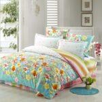 цветастое сатиновое постельное белье