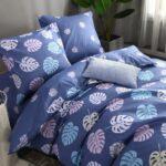 сатиновое постельное белье синего цвета