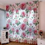 цветной тюль с розами
