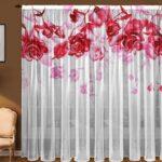 цветной тюль с розами наверху