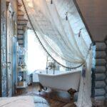 цветной тюль в ванной
