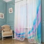 цветной тюль с синей радугой