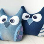 декоративная подушка синяя сова