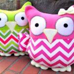 декоративная подушка сова розовая