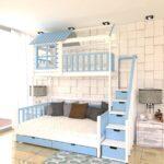 кровать двухъярусная трансформер голубая