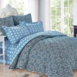 сатиновое постельное белье в голубых тонах