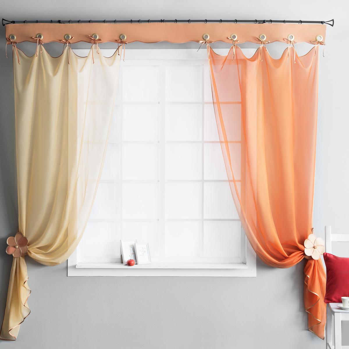 шторы на завязках для кухни