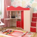 кровать чердак с рабочим столом идеи декора