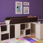 кровать чердак с рабочим столом декор фото