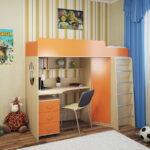 кровать чердак с рабочим столом декор