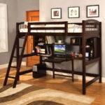кровать чердак с рабочим столом интерьер
