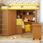 кровать чердак с рабочим столом фото оформления