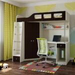 кровать чердак с рабочим столом фото декор