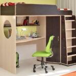 кровать чердак с рабочим столом оформление фото