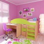 кровать чердак с рабочим столом фото виды