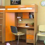 кровать чердак с рабочим столом виды идеи