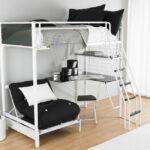 кровать чердак с рабочим столом виды дизайна