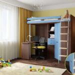 кровать чердак с рабочим столом фото интерьера