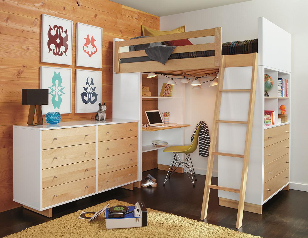 кровать чердак с рабочей зоной дизайн фото