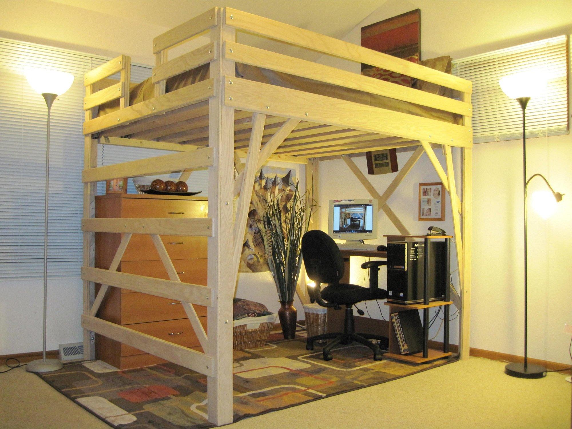 кровать чердак с рабочей зоной фото дизайн