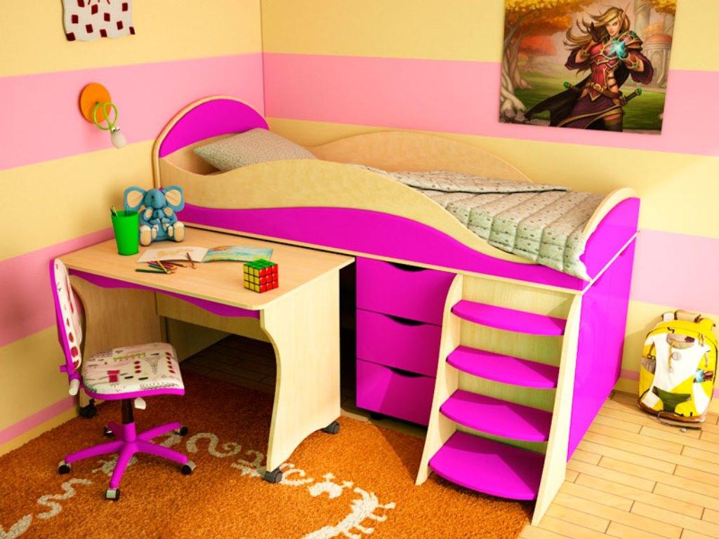 кровать чердак с рабочей зоной фото дизайна