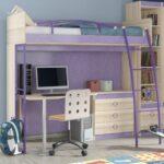 кровать чердак с рабочим столом идеи вариантов