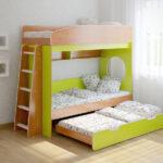 кровать двухъярусная трансформер желтая