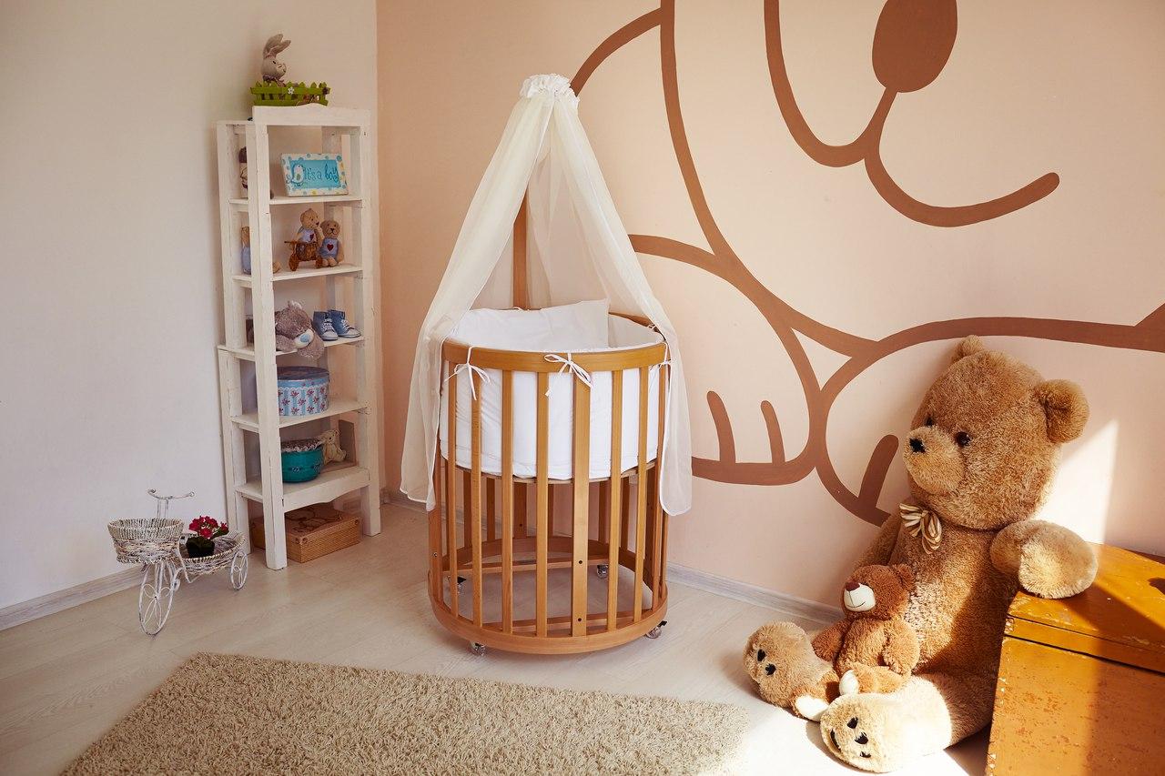 круглая кроватка трансформер для новорожденного дизайн идеи