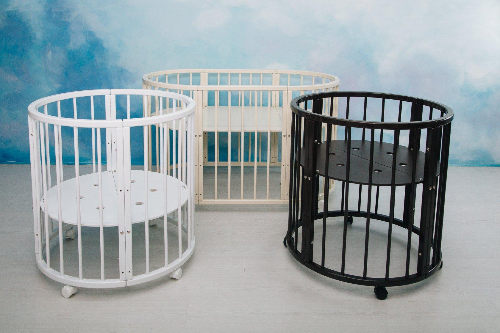 круглая кроватка трансформер для новорожденного дизайн