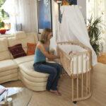 круглая кроватка трансформер для новорожденного фото декора