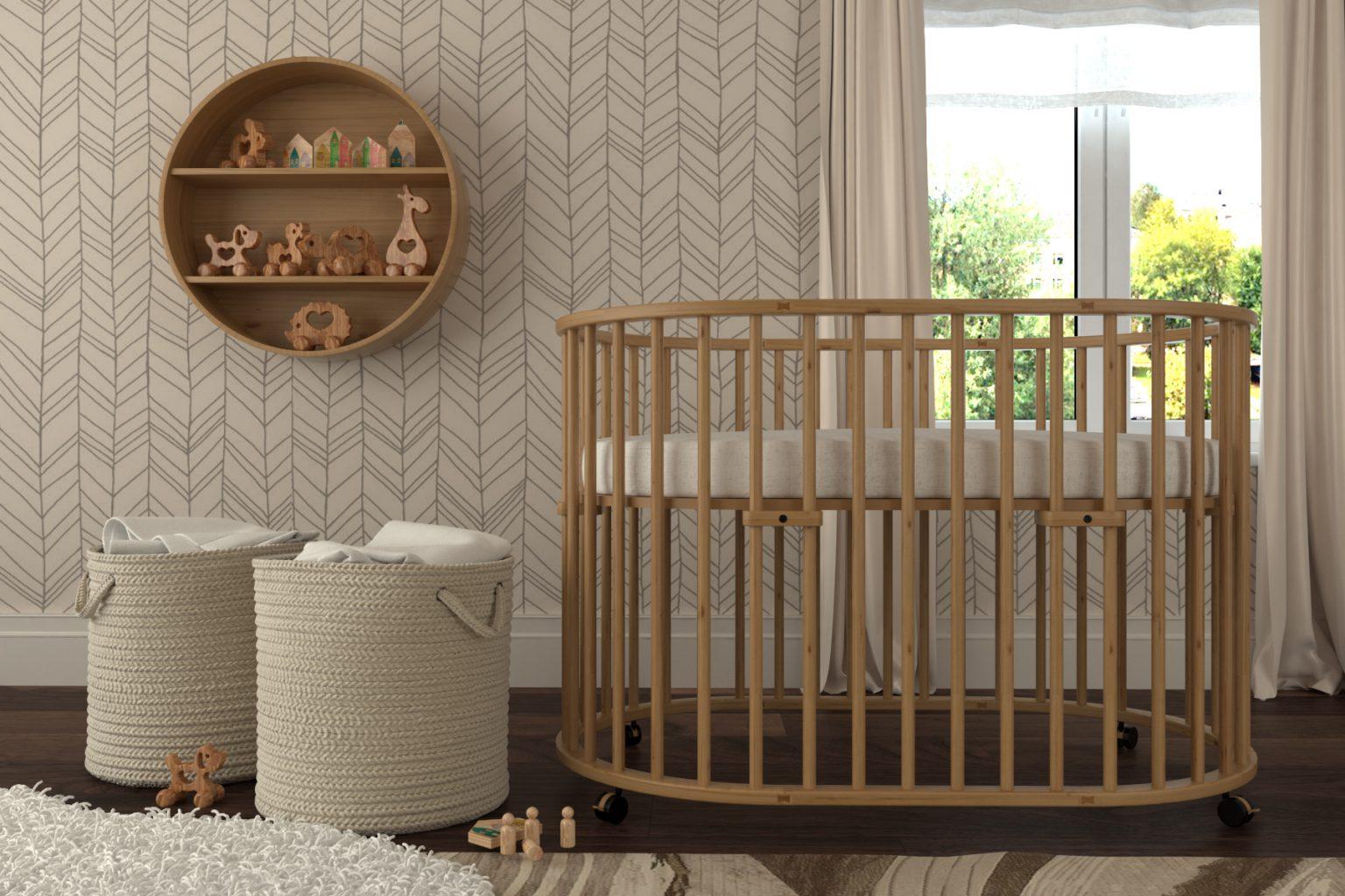 круглая кроватка трансформер для новорожденного фото дизайна