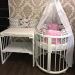круглая кроватка трансформер для новорожденного фото оформления
