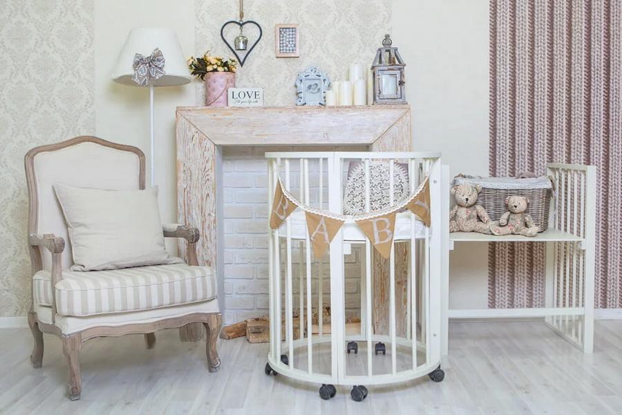 круглая кроватка трансформер для новорожденного фото