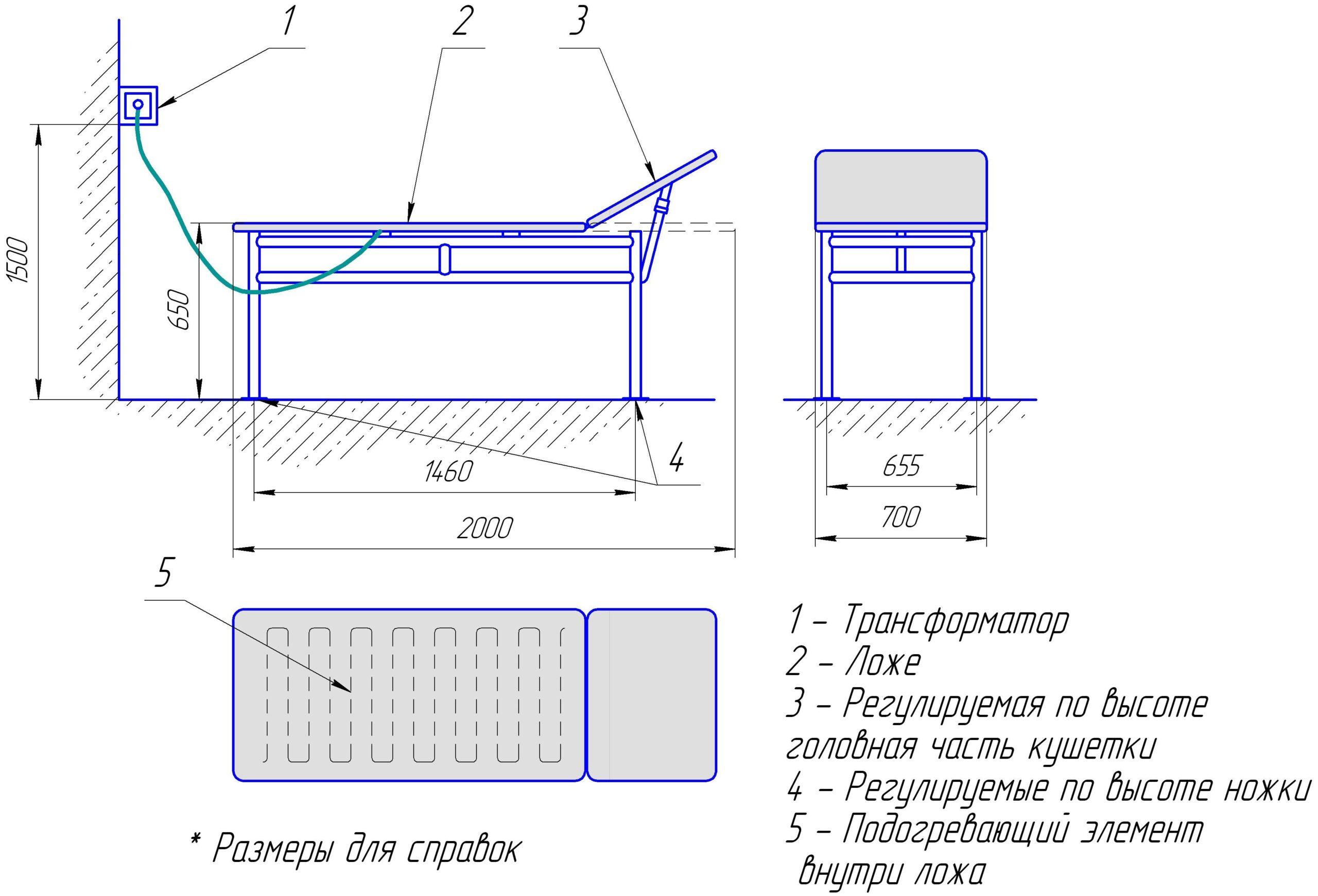 массажный стол чертеж идеи