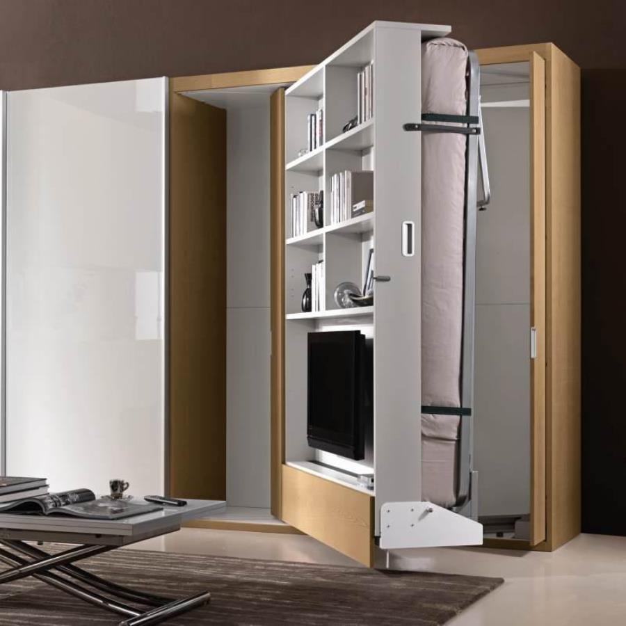 откидная кровать встроенная в шкаф дизайн фото
