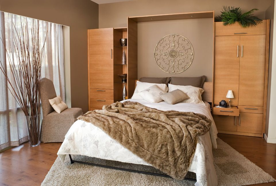 откидная кровать встроенная в шкаф фото дизайна