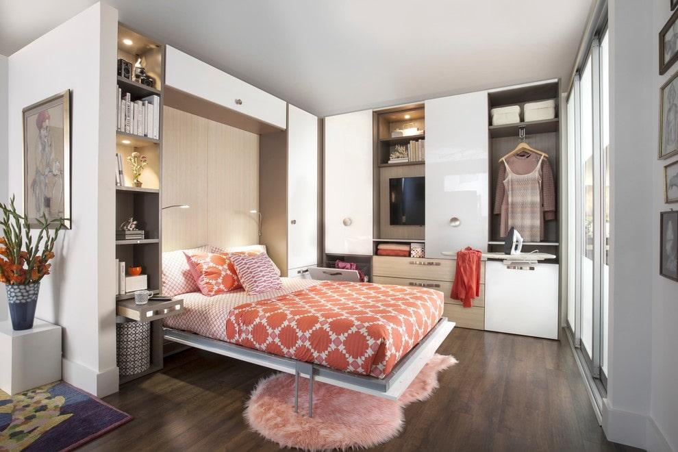 откидная кровать встроенная в шкаф фото идеи
