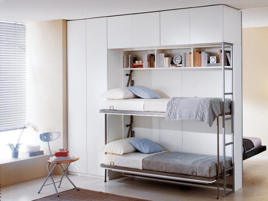 откидная кровать встроенная в шкаф идеи дизайн