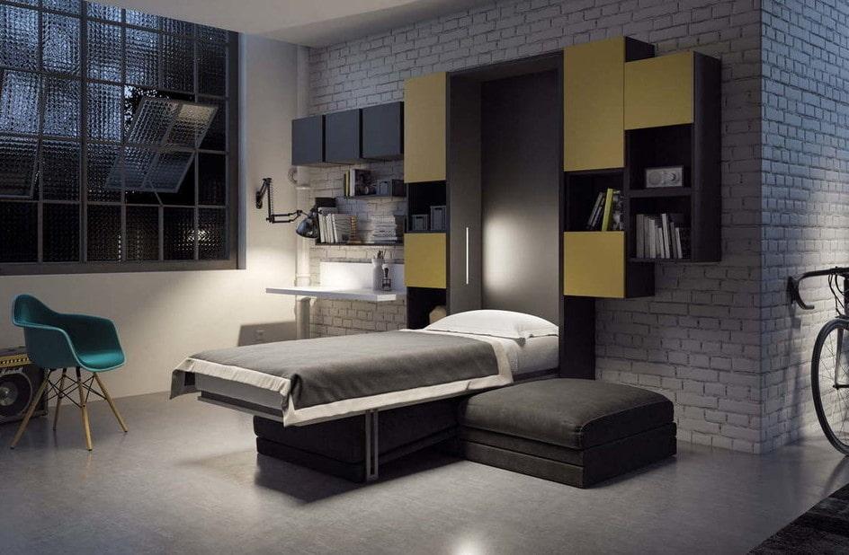 откидная кровать встроенная в шкаф идеи фото