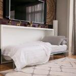откидная кровать встроенная в шкаф оформление идеи