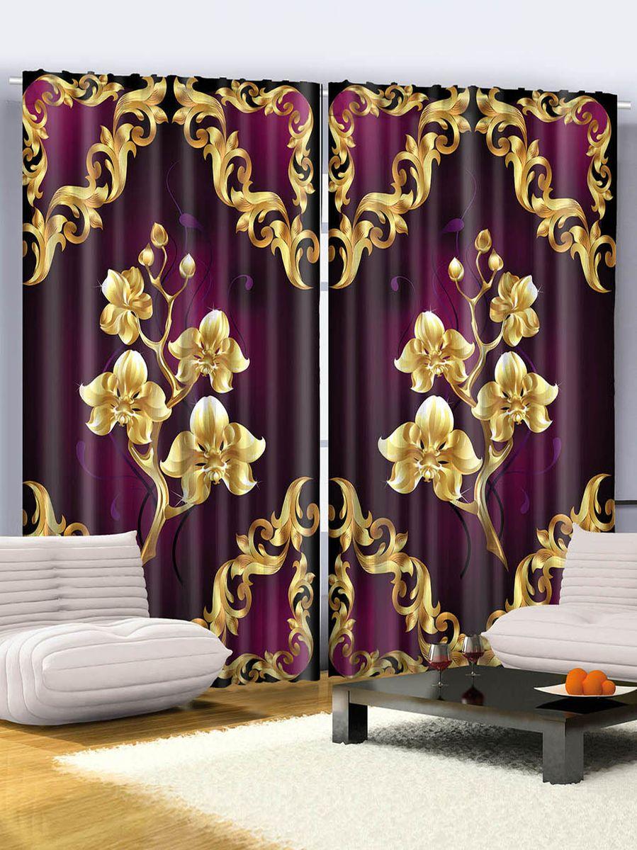 фиолетовые шторы золотое