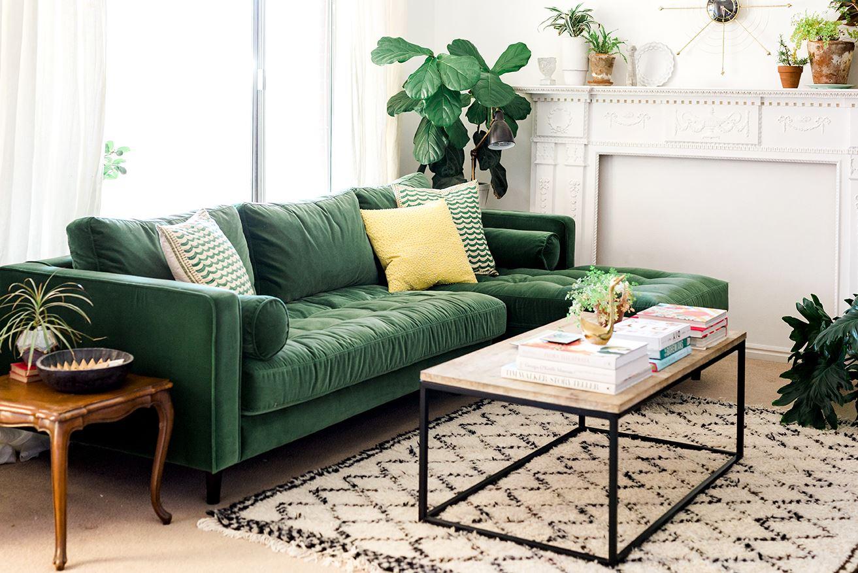 темно зеленый диван