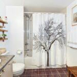 тканевая штора для ванной декор фото