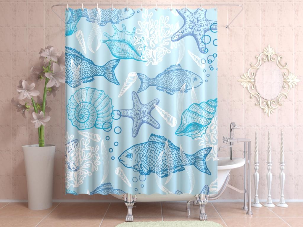 тканевая штора для ванной дизайн фото