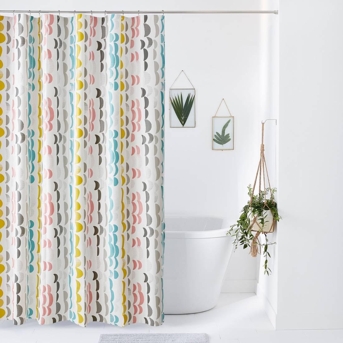 тканевая штора для ванной дизайн
