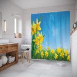 тканевая штора для ванной фото