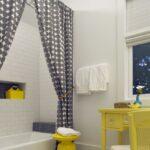 тканевая штора для ванной фото декор