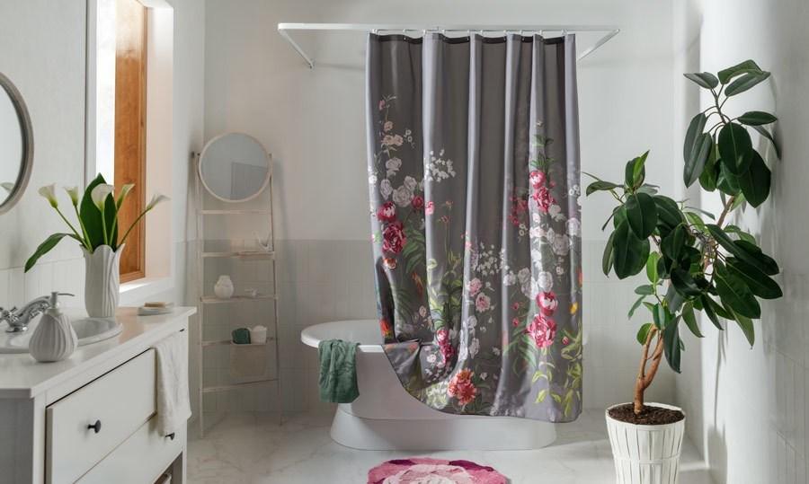 тканевая штора для ванной идеи дизайн
