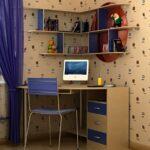 детский стол синий