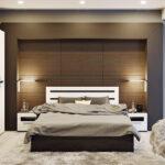 мебель венге в спальне с ночниками
